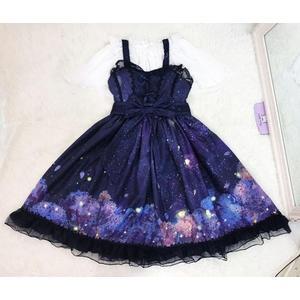 洋裝夢幻星空夜景紫色花夢JSK連身裙lolita小洋裝日系軟妹