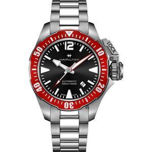Hamilton 漢米爾頓 KHAKI 卡其海軍蛙人潛水機械錶-黑x紅圈/42mm H77725135