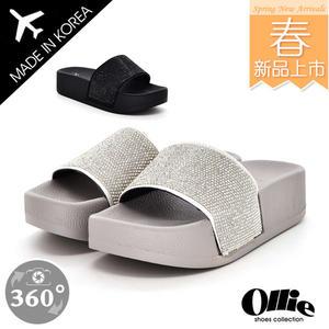 韓國 Ollie 韓國空運 版型正常 時尚滿版亮鑽 好穿乳膠底 顯瘦厚底涼拖鞋【F720652】2色 SD韓美鞋