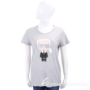 Karl Lagerfeld IKONIK 經典老佛爺圖騰灰色棉質T恤 1810313-D7