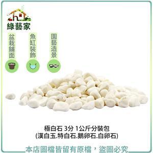 【綠藝家】極白石 3分 1公斤分裝包 (漢白玉.特白石.鵝卵石.白卵石)