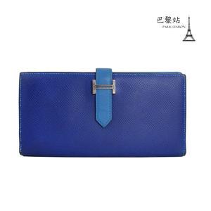【巴黎站二手名牌專賣店】*HERMES 愛馬仕 真品*藍色雙拼 BEARN 銀釦對開長夾 皮夾 P刻