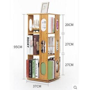 360度旋轉簡易書架多層落地書櫃置物架兒童學生宿舍用架(3層旋轉書架-橢圓款)