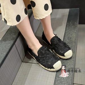 漁夫鞋 小香風漁夫鞋女平底2019新款韓版鞋女蕾絲鏤空網面亞麻懶人鞋女夏 3色35-40