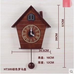 光控音樂報時布穀鳥鐘咕咕鐘表歐式時尚創意客廳田園掛鐘HTG305(數字款棕色)