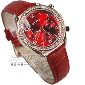香港古歐 GUOU 閃耀時尚腕錶 三眼造型 日期顯示窗 真皮皮革錶帶 女錶 紅x玫瑰金 GU8103玫紅