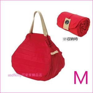 asdfkitty可愛家☆日本 MARNA Shupatto 紅M號輕量購物袋/環保袋/耐重/快速摺疊收納-正版