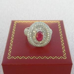 【歡喜心珠寶】【天然剛玉紅寶石約1.3克拉加銀k金晶鑽戒台】天然尚比亞紅寶石戒子「附保証書」