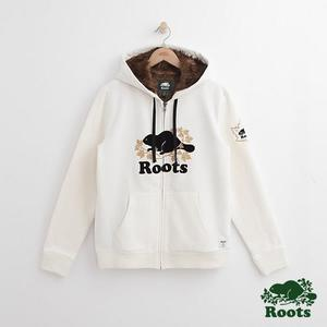 Roots-男裝-周年系列 庫柏楓葉毛毛連帽外套 - 白色