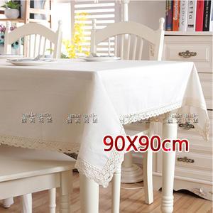 棉麻桌巾-亞麻白【蕾絲花邊】90X90cm【素色桌布】地中海風格 浪漫傢飾 餐桌布 書桌布[微笑城堡]