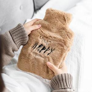 創意英文可拆卸毛絨熱水袋 學生冬季保溫大號加厚塑膠暖手袋