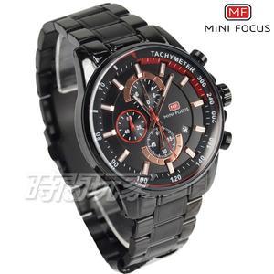 MINI FOCUS 大錶徑 真三眼計時男錶 日期視窗 不銹鋼 防水手錶 IP黑 MF0218黑