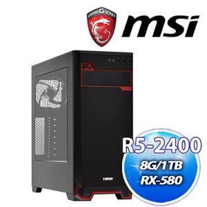 微星 B450M 平台【潘森5號】AMD R5 2400G+華碩 DUAL-RX580-O4G雪原豹電競機送DS B1【刷卡分期價】