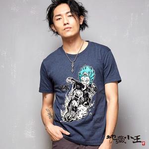 【夏季優惠】地藏騎哈雷短袖T恤(藍)-地藏小王 BLUE WAY