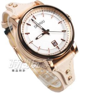 DEJAVU 個性派 獨立自主 數字時刻 日期顯示窗 皮革防水腕錶 女錶 大款 DJ-5020L白玫