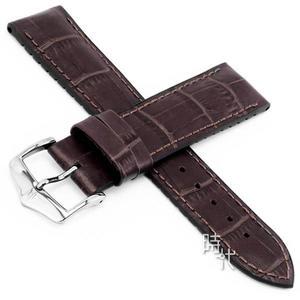 【台南 時代鐘錶 海奕施 HIRSCH】複合式橡膠錶帶 Paul M 皮革壓紋 深棕色 附工具 0925028110 OMEGA錶帶