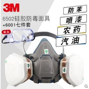 3M6200升級版矽膠防毒口罩化工氣體防異味噴漆防油漆味3m防毒面具【6502+6001】