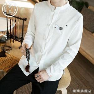 中國風長袖襯衫男士秋裝刺繡立領寬鬆襯衣休閒復古大尺碼寸衫外套男