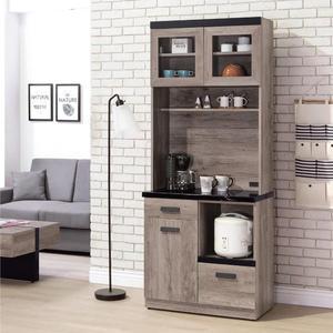 【采桔家居】艾迪斯 時尚2.7尺雲紋石面餐櫃/收納櫃組合(上+下座)