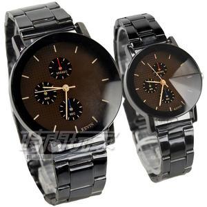 KEVIN 三眼造型情人對錶 立體多角切割鏡面 防水錶 IP黑電鍍 男錶 女錶 KV2068三眼大+KV2068三眼小