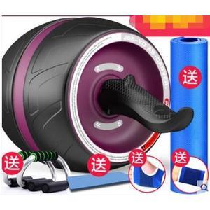 回彈健腹輪腹肌輪訓練器收腹部健身器材家用男女減肚子滾滑輪靜音【尊貴紫+俯臥撑/主圖款】