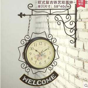 地中海創意雙面鐘復古鐵藝田園掛鐘歐式鐘錶客廳兩面鐘靜音