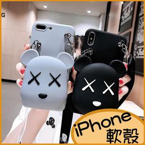 卡通小熊iPhone11Pro max iPhoneXR手機殼iPhone8Plus保護殼iPhone6sPlus軟殼i7Plus保護套iPhoneX零錢包 斜背掛繩
