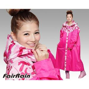 【FairRain 飛銳 迷彩 前開式 加長型 一件式 雨衣 瘋迷粉 】迷彩、可自取