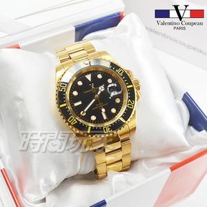 valentino coupeau 范倫鐵諾 夜光時刻不銹鋼防水男錶 潛水錶 水鬼 石英錶 金x黑 V61589KG黑金