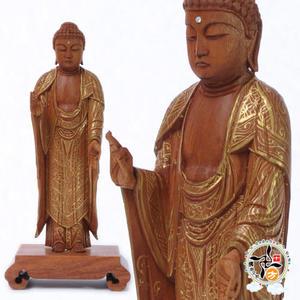 阿彌陀佛{台灣肖楠木}手繪描金木雕佛像15公分  【十方佛教文物】