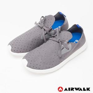 AIRWALK(男) - 絕對輕量 純色洞洞柔軟EVA綁帶休閒鞋 - 灰