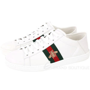 GUCCI Ace 蜜蜂刺繡皮革綁帶運動休閒鞋(白色) 1820518-20