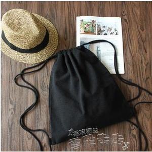 束口包小清新帆布後背包束口袋抽繩包男女純色背包棉麻布袋純黑純白 【品質保證】