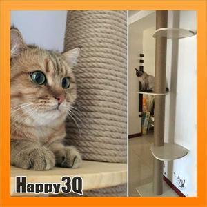 寵物玩具玩耍貓咪休息喵星人貓抓板頂天立地支柱麻繩三層貓跳台【AAA1628】預購