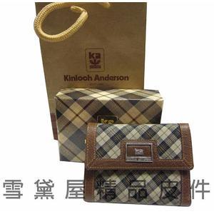 ~雪黛屋~Kinloch Anderson英國金安德森格紋短型皮夾100%進口牛皮四折暗釦主袋禮盒提袋保卡MKA6306