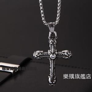 項鍊復古花紋鑲?十字架鈦鋼項鍊男士日韓個性吊墜配飾品掛件