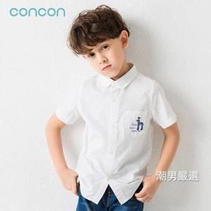 短袖襯衫男童白襯衫短袖2018夏季白襯衣中大童男孩棉質兒童白色襯衫