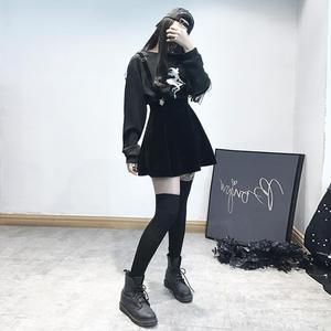 暗黑系女裝原宿黑色日系學生背帶裙女蘿莉塔lolita公主洋裝蘿莉裙