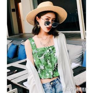 露臍背心綠色高腰吊帶背心女外穿露臍短款泰國度假無袖上衣夏雪紡海邊沙灘 溫暖享家