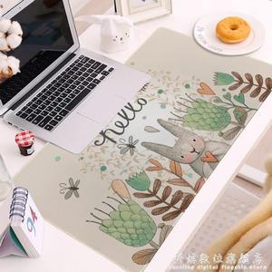 卡通兔子特大鼠標墊加大可愛防滑電腦辦公桌墊長方形鎖邊鍵盤墊 科炫數位