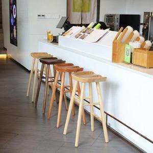 北歐高腳凳子家用吧台椅現代簡約吧台凳實木酒吧椅高腳椅時尚吧椅   ATF 魔法鞋櫃