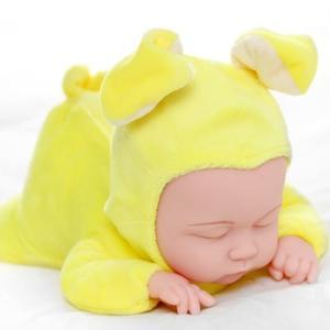 仿真嬰兒洋娃娃軟膠睡眠寶寶安撫陪睡萌娃娃女孩兒童毛絨公仔玩具   蜜拉貝爾