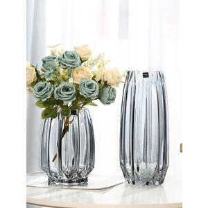 花瓶 創意大號玻璃瓶透明彩色水培富貴竹百合玫瑰豎棱花瓶客廳插花擺件 伊蘿鞋包