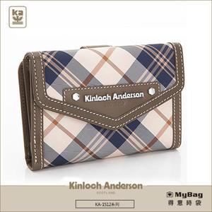 Kinloch Anderson 金安德森 皮夾 英式學院 咖啡 經典格紋布中夾 牛皮女夾  KA151205  MyBag得意時袋