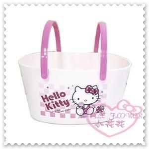 ♥小花花日本精品♥Hello Kitty 提籃手提籃購物籃衣物籃外出籃坐姿格紋點點草莓粉色韓國製 56764307