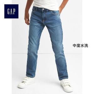 Gap男童 簡約風格靛藍水洗直筒牛仔褲 325797-中度水洗