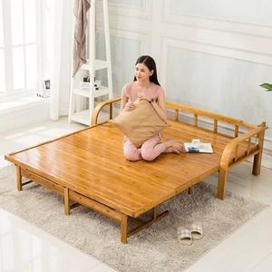 折疊沙發床可坐臥兩用多功能客廳小戶型簡易單雙人硬板實木竹子床