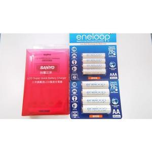 全館免運費【電池天地】SANLUX 三洋LCD極速充電器 SYNC-LS01+國際牌 eneloop 3號+4號鎳氫低自放充電電池