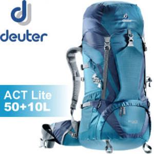 【Deuter 德國 ACT Lite 50+10L 拔熱式透氣背包《藍/深藍》】3340315/背包/登山/健行★滿額送