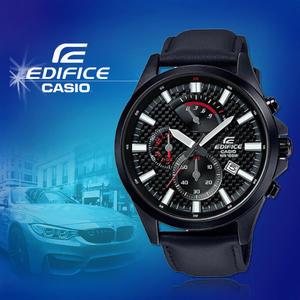 CASIO手錶專賣店 CASIO EDIFICE EFV-530BL-1A 礦物玻璃 碼錶 真皮錶帶 男錶